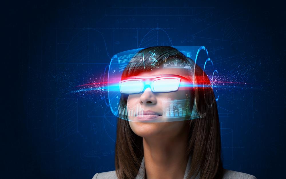 futuristic worker looking in future
