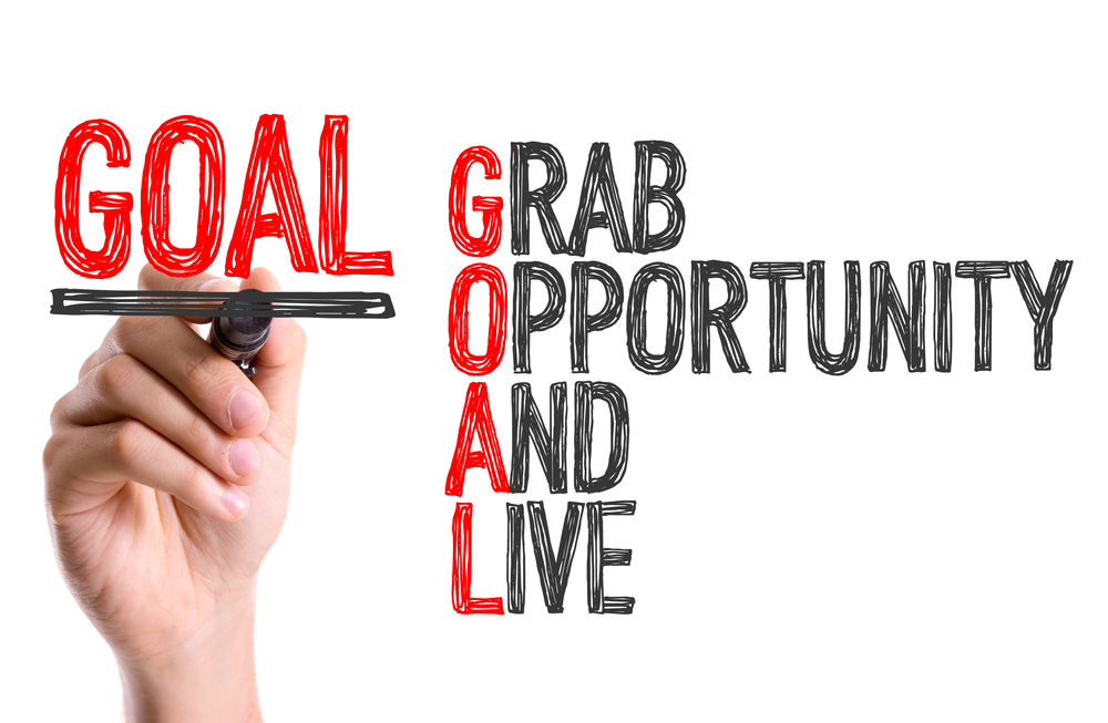 Words on white background - GOAL - Grab, Opportunity, And, Live