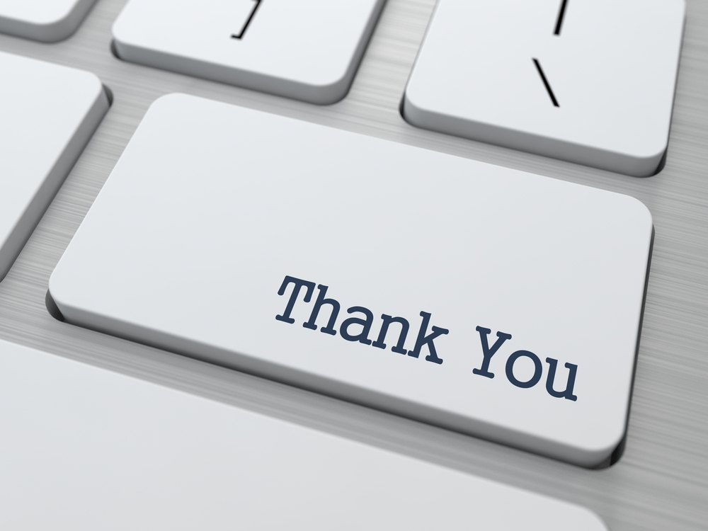 keyboard button saying thank you